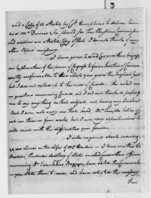 John Adams to Thomas Jefferson, July 18, 1785, Partially in Cipher, Using Code Number 8; with Jefferson's Transcription of Last Paragraph