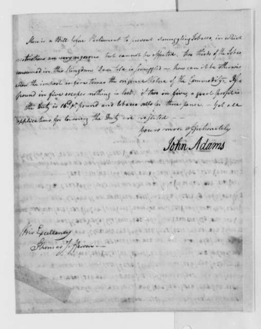 John Adams to Thomas Jefferson, July 24, 1785, Partially in Cipher, Using Code Number 8; with Jefferson's Transcription of Coded Paragraph