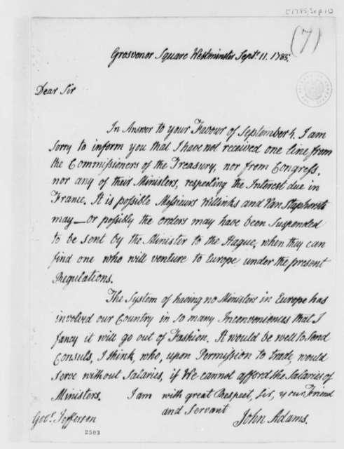 John Adams to Thomas Jefferson, September 11, 1785