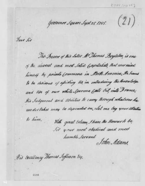 John Adams to Thomas Jefferson, September 25, 1785