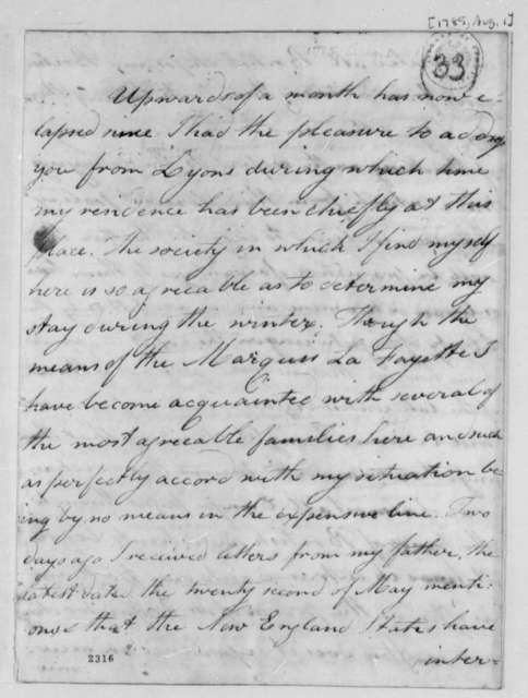 John Banister Jr. to Thomas Jefferson, August 1, 1785