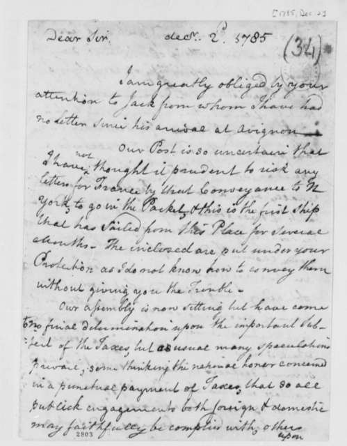 John Banister, Sr. to Thomas Jefferson, December 2, 1785