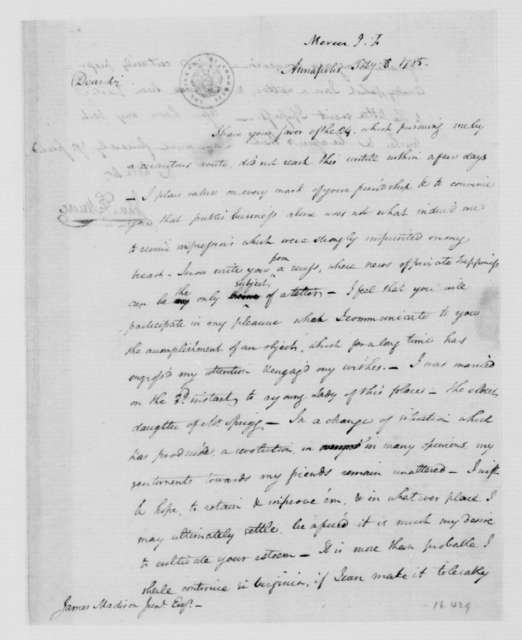 John Francis Mercer to James Madison, February 8, 1785.