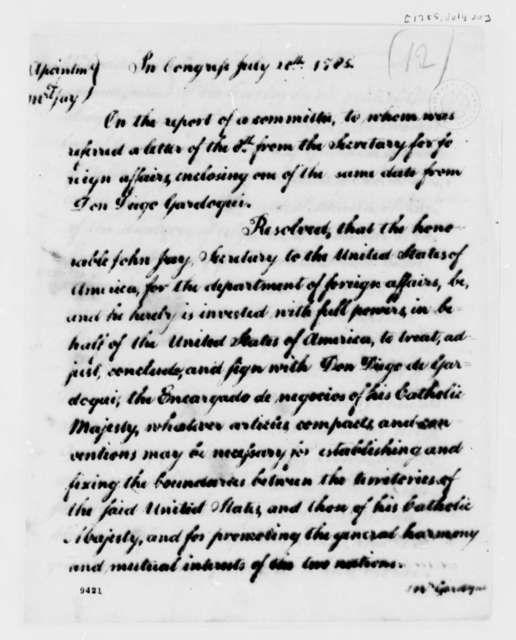 John Jay, July 20, 1785, Appointment to Spain