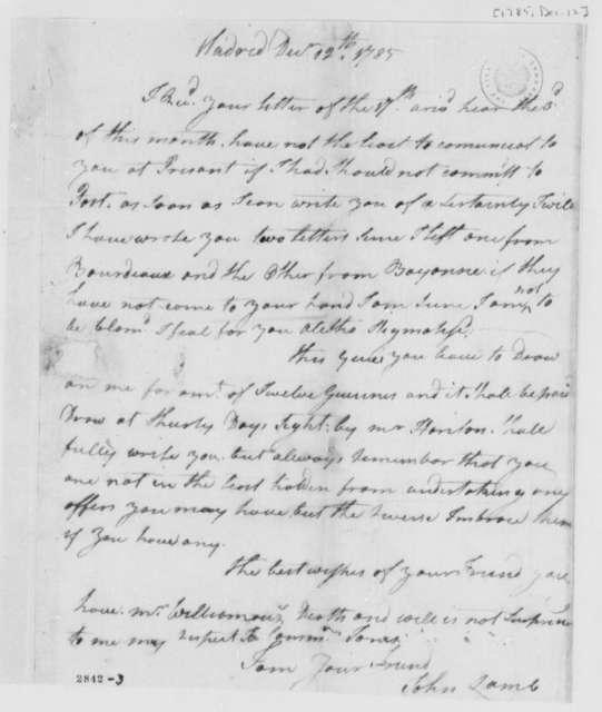 John Lamb to Thomas Jefferson, December 12, 1785