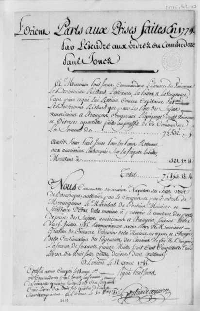 John Paul Jones, August 18, 1785, List of Prizes Taken in 1779; in French