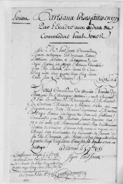 John Paul Jones, September 9, 1785, List of Prizes Taken in 1779; in French