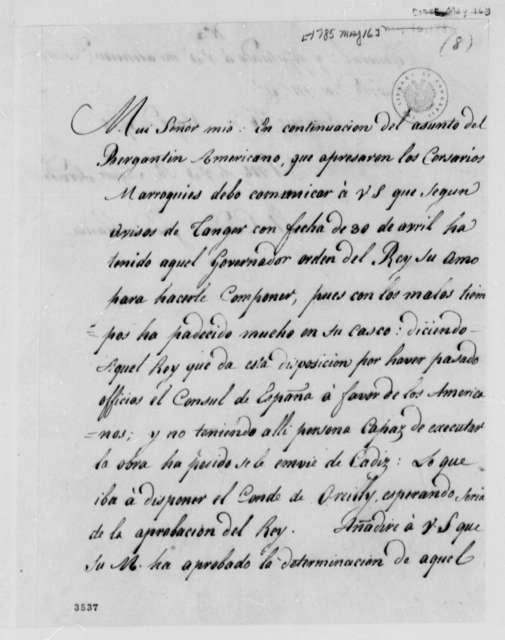 Jose Monino, Conde de Floridablanca to Thomas Jefferson, May 16, 1785