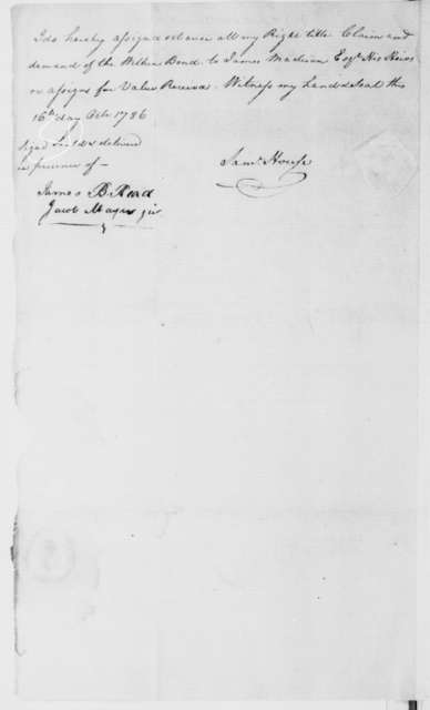 Joseph Thompson and Samuel House, September 2, 1785. Bond and Assignment.