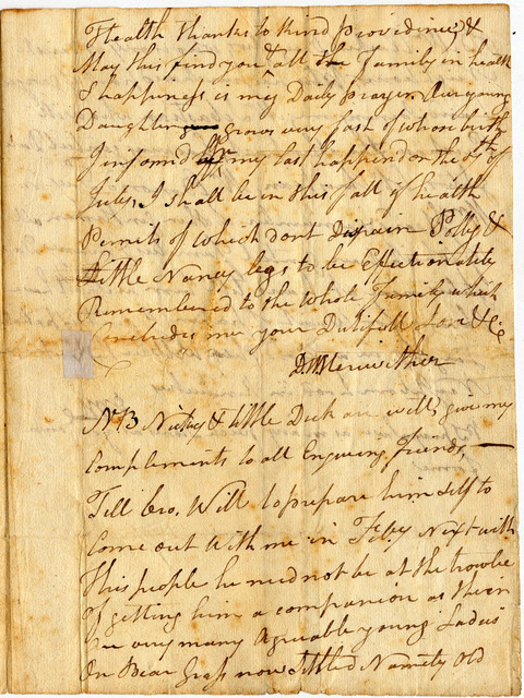 Letter from David Wood Meriwether to William Meriwether
