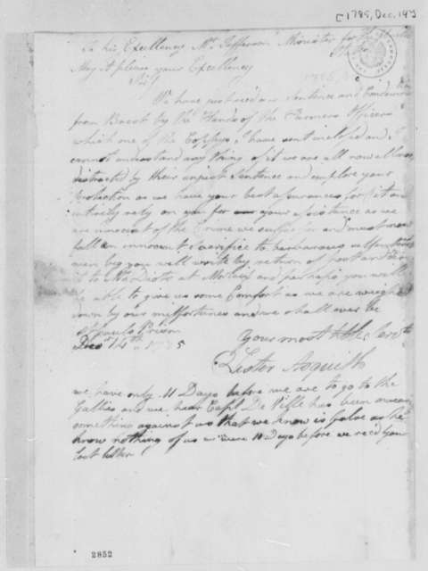 Lister Asquith to Thomas Jefferson, December 14, 1785, William & Catherine (ship)