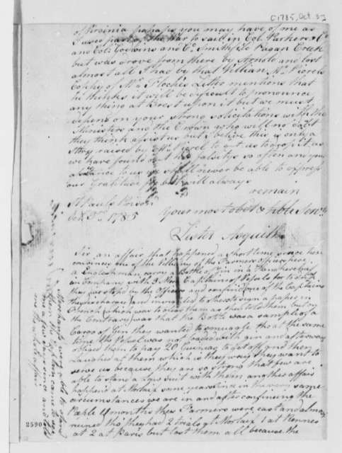 Lister Asquith to Thomas Jefferson, October 3, 1785, William & Catherine (ship)