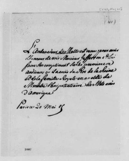Malta Ambassador to Thomas Jefferson, May 20, 1785, in French