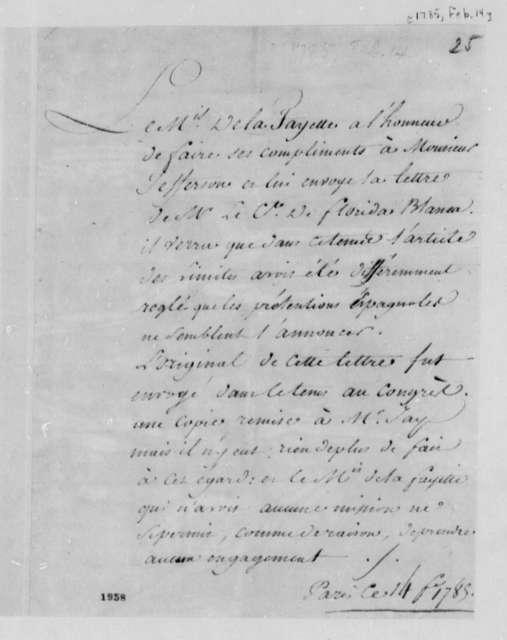 Marie Joseph Paul Yves Roch Gilbert du Motier, Marquis de Lafayette to Thomas Jefferson, February 14, 1785