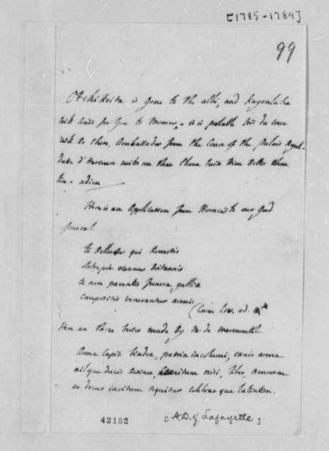 Marie Joseph Paul Yves Roch Gilbert du Motier, Marquis de Lafayette to Thomas Jefferson, 1785-89