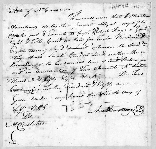 Martin Armstrong to Robert Hays, September 9, 1785