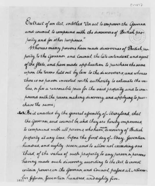Maryland General Assembly, 1785, Extract from Act on Governor's Power