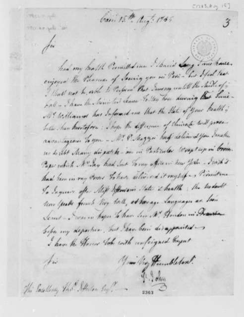 Michel Guillaume Jean de Crevecoeur (John Hector St. John) to Thomas Jefferson, August 15, 1785