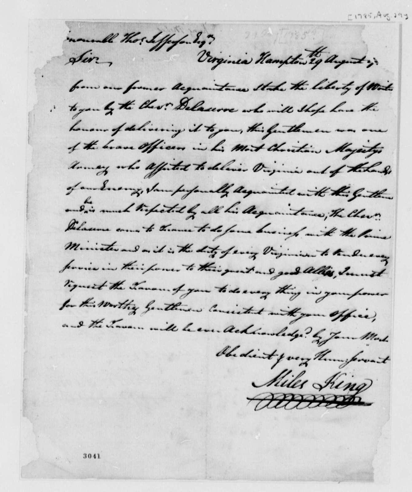 Miles King to Thomas Jefferson, August 29, 1785