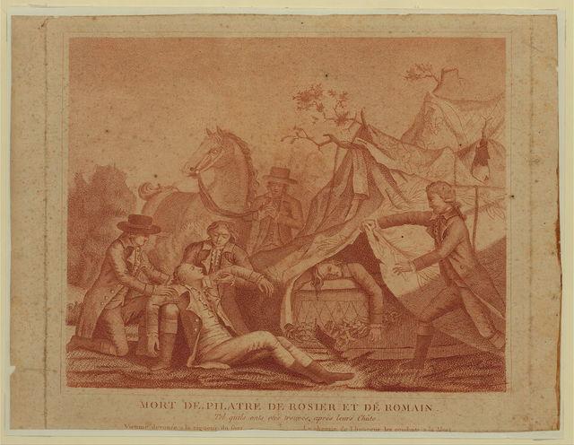 Mort de Pilatre de Rosier [i.e. Rozier] et de Romain. Tel quils onts etés trouvés après leurs chûte.