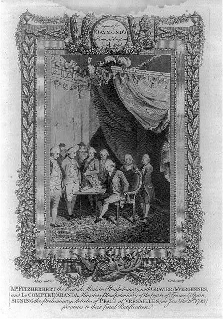 Mr. Fitzherbert the British minister plenipotentiary, with Gravier de Vergennes, and le Compte d'Aranda ministers plenipotentiary of the courts of France & Spain, signing the preliminary articles of peace at Versailles (on Jany. the 20th 1783) previous to their final ratification / Metz delin. ; Cook sculp.