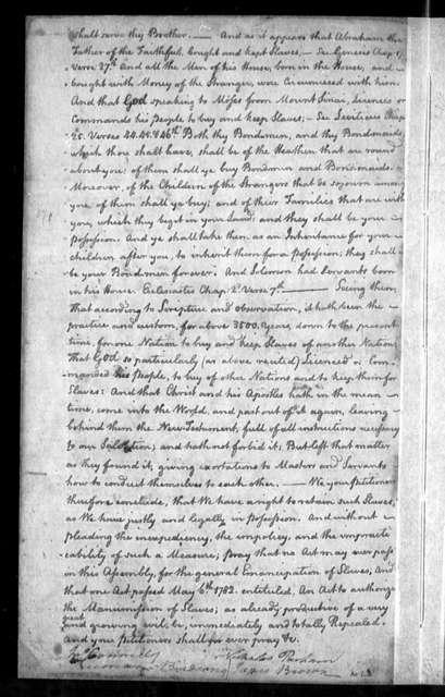 November 10, 1785, Brunswick, Opposed to emancipation of slaves.