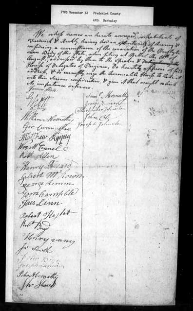 November 12, 1785, Frederick, Berkeley, In favor of Presbyterian Convention petition.