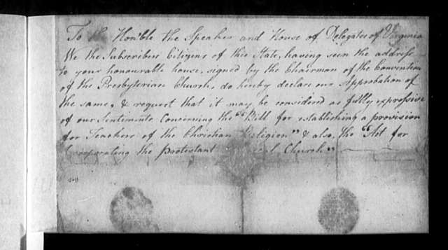 November 12, 1785, Miscellaneous, In favor of Presbyterian Convention petition.