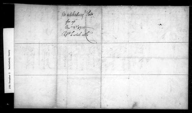 November 2, 1785, Mecklenburg, In favor of assessment bill.