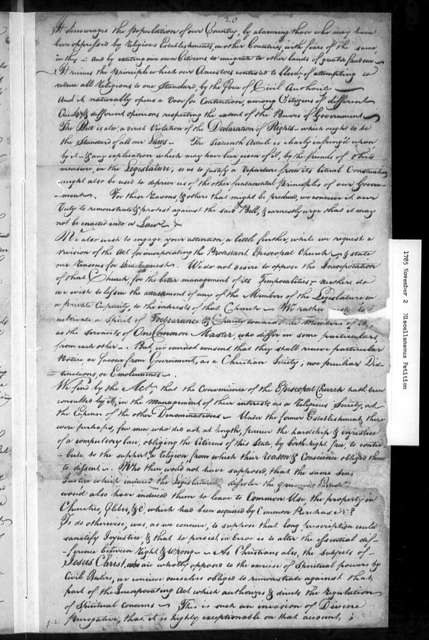 November 2, 1785, Miscellaneous, Ministers and lay representatives of Presbyterian Church, met at Bethel, Augusta County, August 13, 1785, opposed to assessment bill.