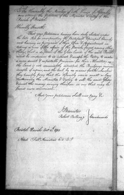 November 28, 1785, Prince George, Bristol Parish, requesting permission to sell glebe.