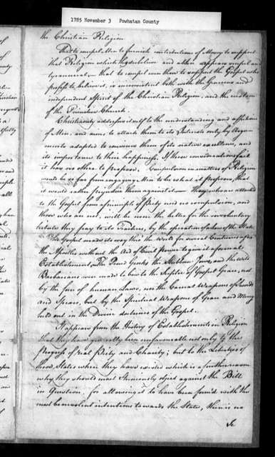 November 3, 1785, Powhatan, Baptist Association met at Dupuy's Meeting-House, Powhatan County, August 13, 1785, opposed to assessment bill.