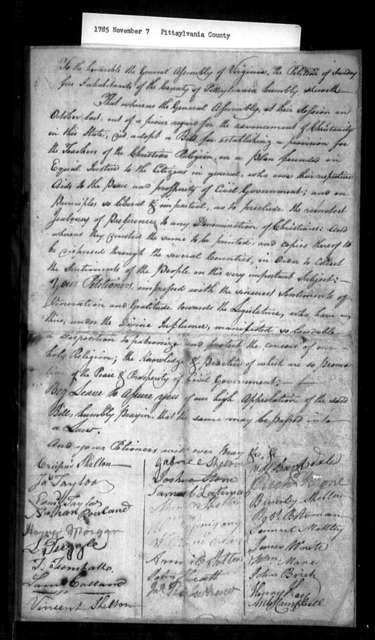 November 7, 1785, Pittsylvania, In favor of assessment bill.