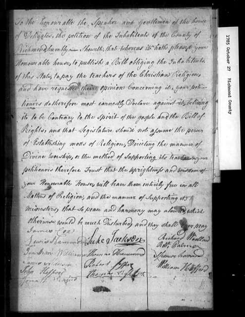 October 27, 1785, Richmond County, Against assessment bill.