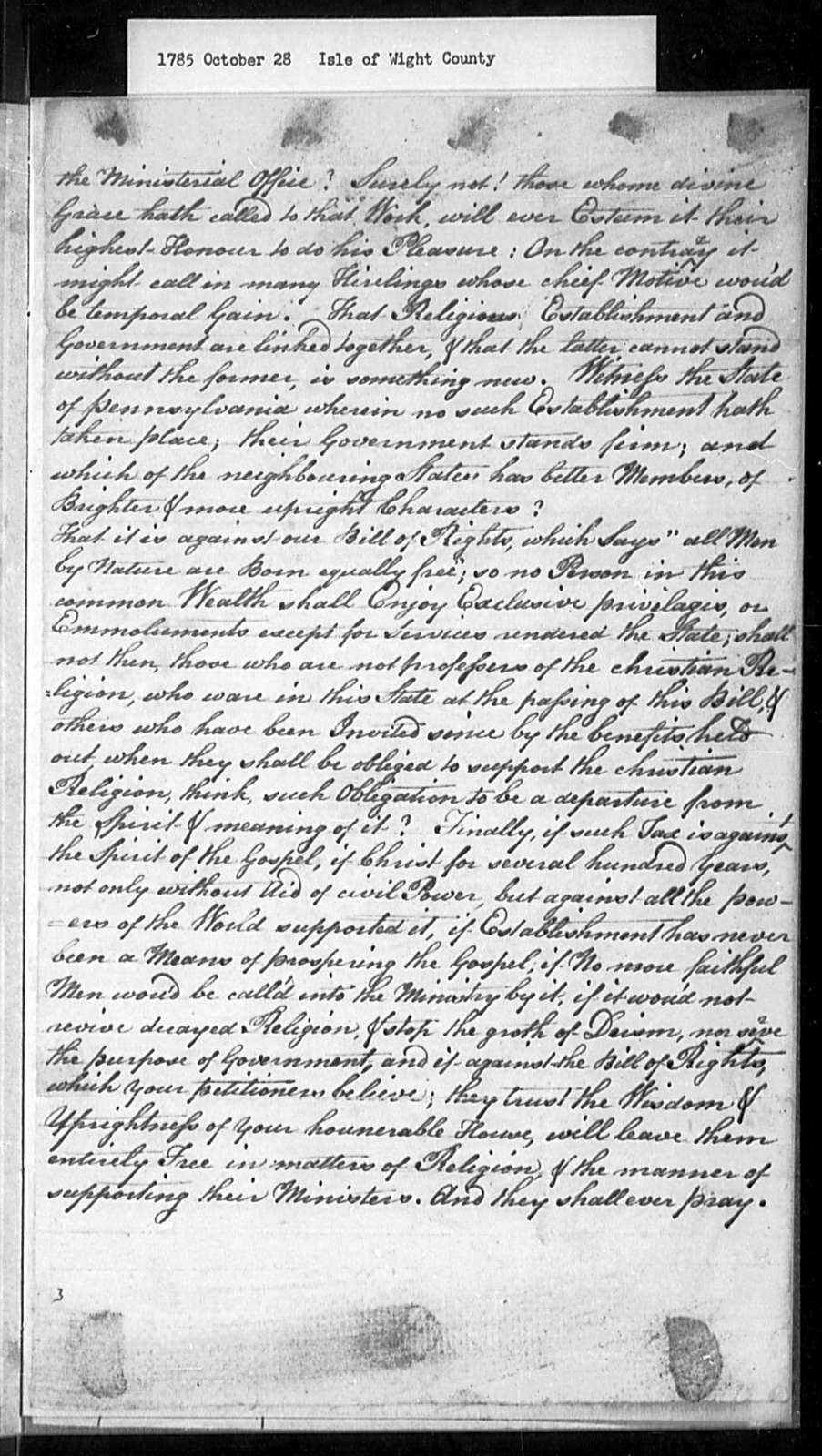 October 28, 1785, Isle of Wight, Against assessment bill.