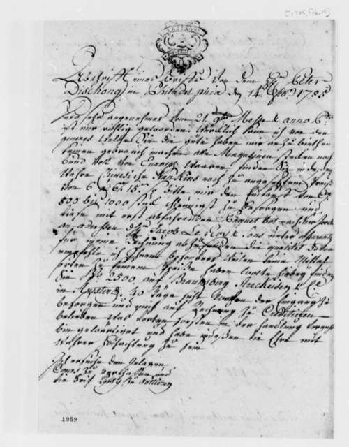 Peter Dischong to Jean Francois Briet, February 14, 1785