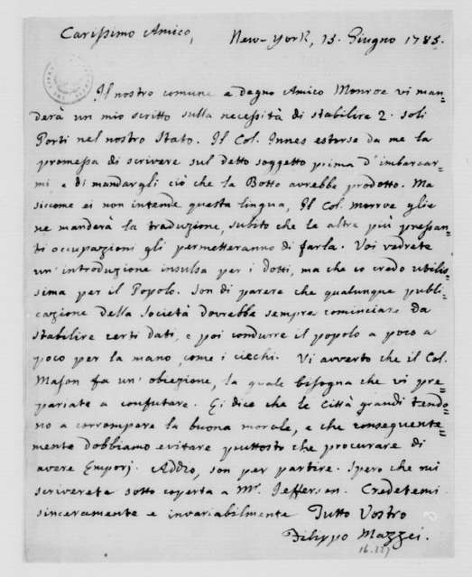 Philip Mazzei to James Madison, June 15, 1785. In Italian.