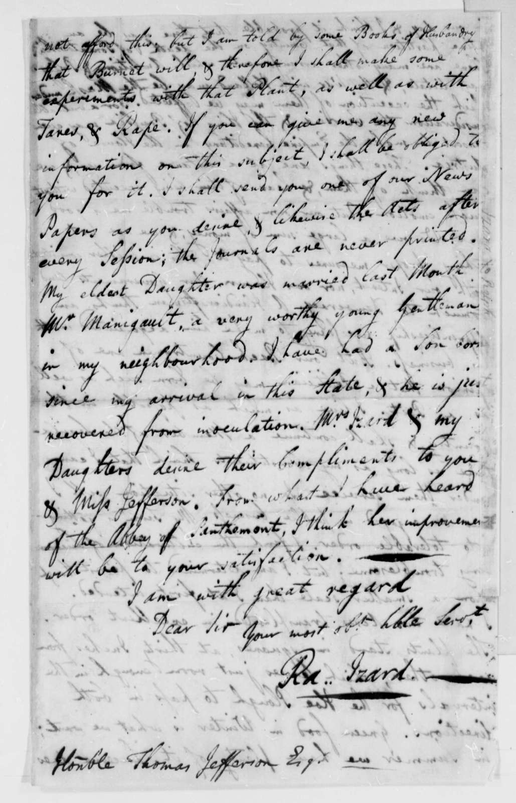 Ralph Izard to Thomas Jefferson, June 10, 1785