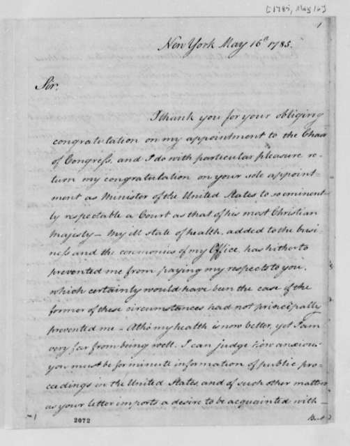 Richard Henry Lee to Thomas Jefferson, May 16, 1785