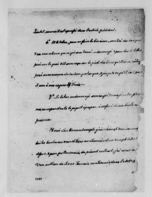 Robert Morris and La Ferme Generale, January 11, 1785, Text of Tobacco Trade Contract; in French