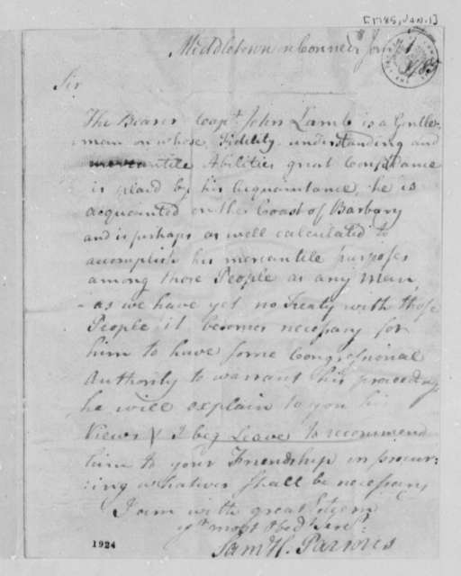Samuel H. Parsons to Abiel Foster, January 1, 1785