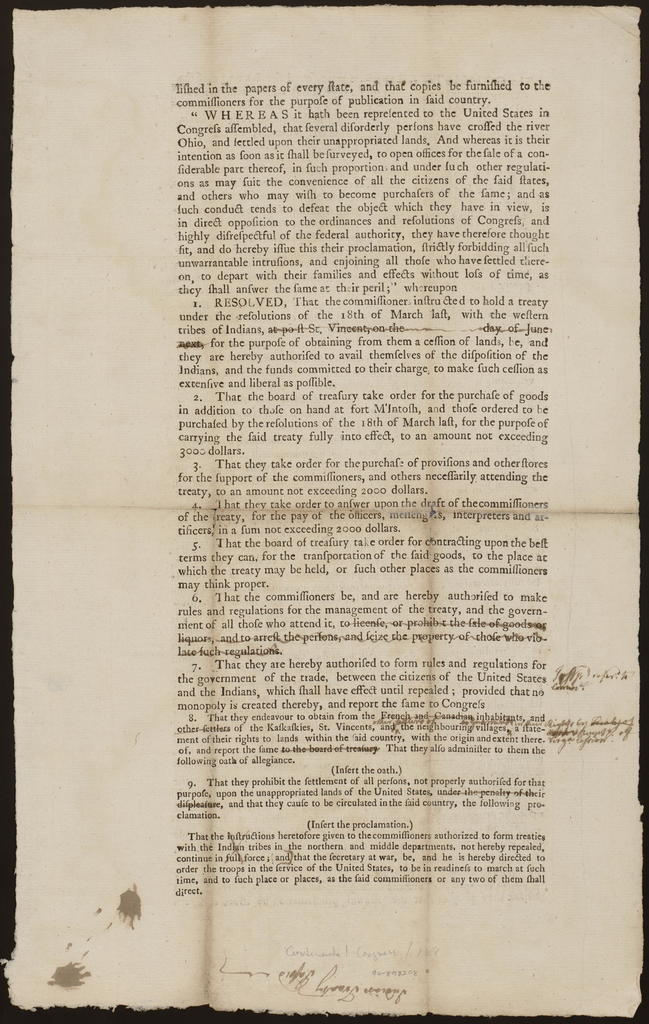 The committee to whom was referred the letter of the commissioners authorised to form treaties with the Indian tribes, having conferred with the said commissioners upon the subject of their letter, and the resolutions of 18th of March, directing a treaty to be held at Post St. Vincent, on the [blank] day of June next, report ...