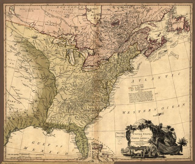 The United States of North America, with the British & Spanish territories according to the treaty of 1784.