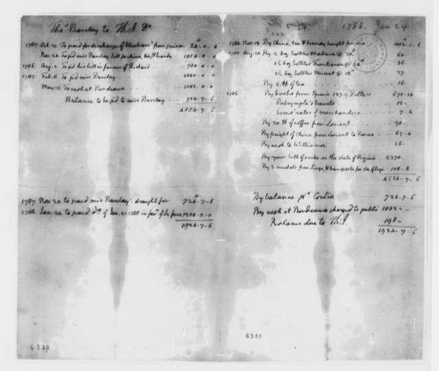 Thomas Barclay to Thomas Jefferson, October 31, 1785, Account