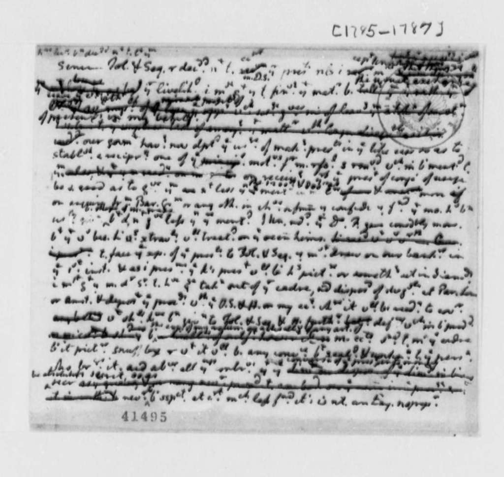 Thomas Jefferson, 1785-87, Memorandum on Barbary States; in Shorthand