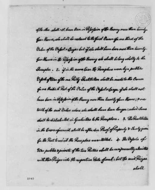 Thomas Jefferson, 1785, Model of Amity and Commerce Treaty