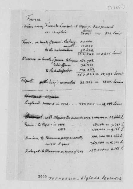 Thomas Jefferson, 1785, Notes on Algiers Presents