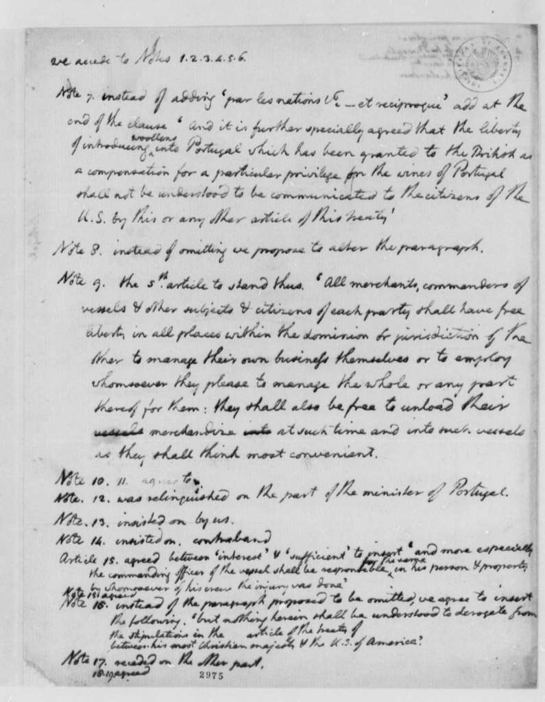 Thomas Jefferson, 1785, Observations on Alterations to Amity and Commerce Treaty Between Portugal and the United States