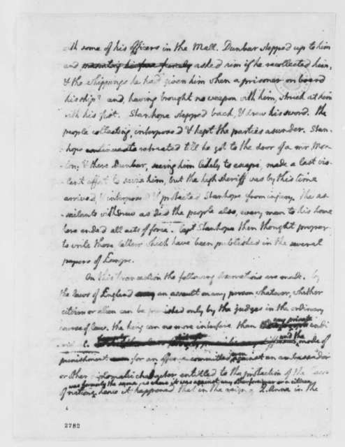 Thomas Jefferson, November 27, 1785, Account of Purported Assault on Henry Stanhope