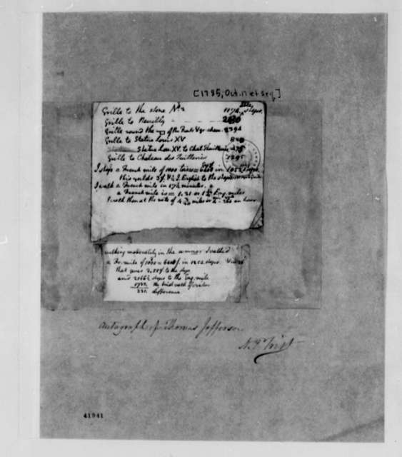 Thomas Jefferson, October 17, 1785, Notes on Walking Rate; Table of Distances
